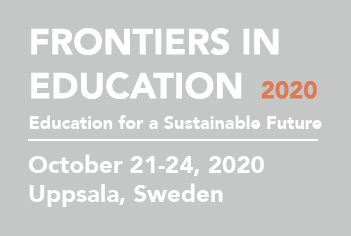 Frontiers in education, October 21-24, 2021. Conference name logo. Illustration.